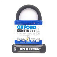 Oxford Sentinal Shackle Lock 14mm x 260mm Silver