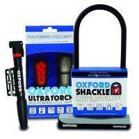 Oxford Cycling Accessory Bundle with Shackle Lock, Lighting and Portable Pump