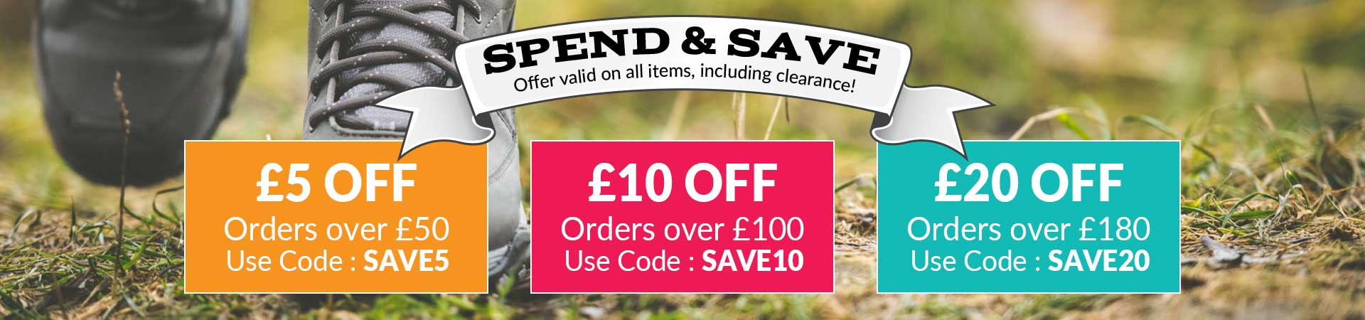 Spend & Save, use code for an extra £20 off